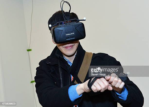 View of atmosphere at Stanford University's Virtual Human Interaction Lab Experience during the 2015 Tribeca Film Festival at Spring Studio on April...