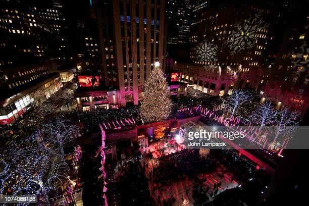 A view of atmosphere at the 86th Annual Rockefeller Center Christmas Tree Lighting Ceremony at Rockefeller Center on November 28 2018 in New York City