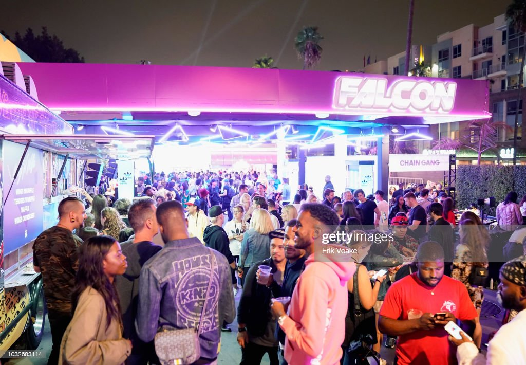 ac70a678cf1 View of atmosphere at the Adidas Falcon FW18 Launch  Gas Station ...