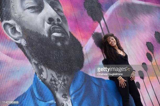 A view of atmosphere at The Marathon Clothing Store during Nipsey Hussle's Celebration of Life and Funeral Procession on April 11 2019 in Los Angeles...