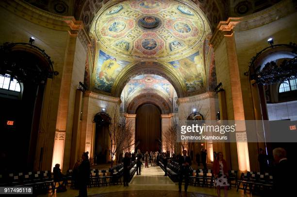 A view of atmosphere at the Oscar De La Renta fashion show during New York Fashion Week The Shows at The Cunard Building on February 12 2018 in New...