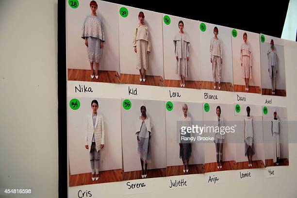 A view of atmosphere backstage at the Academy of Art University Spring 2015 Collections during MercedesBenz Fashion Week Spring 2015 at The Theatre...