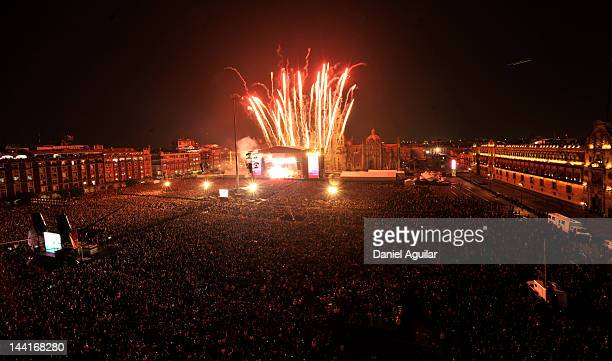 A view of atmosphere during Paul McCartney's free Mother's Day concert at the Zocalo on May 10 2012 in Mexico City Mexico