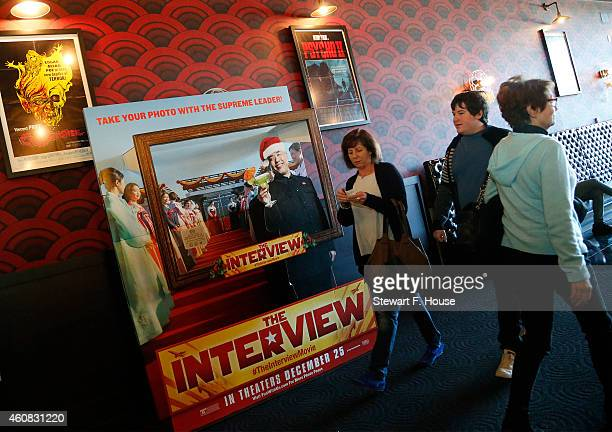 A view of atmosphere during the Sony Pictures Christmas Day release of 'The Interview' at the Alamo Drafthouse Cinema on December 25 2014 in...