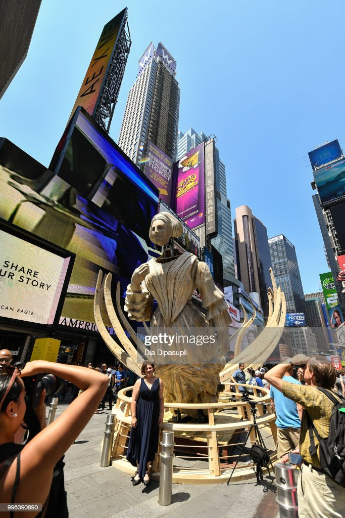 A view of atmosphere during the unveiling of artist Mel Chin's large-scale sculpture 'Wake' and companion mixed reality piece 'Unmoored' in Times Square on July 11, 2018 in New York City.