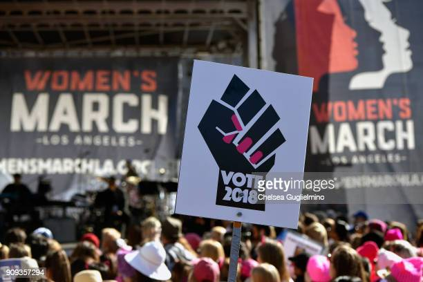 A view of atmosphere during the Women's March Los Angeles 2018 on January 20 2018 in Los Angeles California