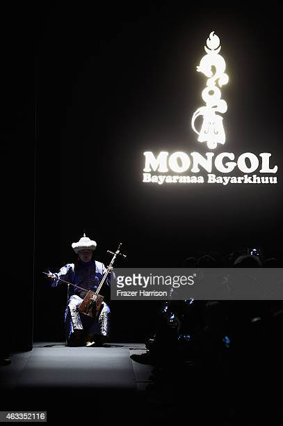 View of atmosphere of the Mongol fashion show during Mercedes-Benz Fashion Week Fall 2015 at The Theatre at Lincoln Center on February 13, 2015 in...