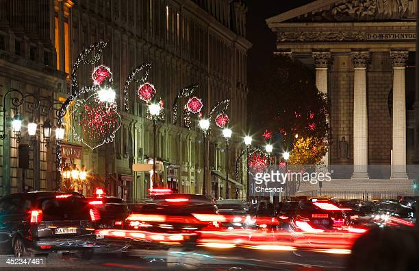 """View of atmosphere of the Paris Christmas illuminations at """"rue Royale""""on November 27, 2013 in Paris, France. Until January 8 Parisians and visitors..."""