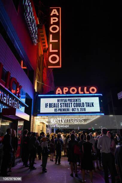 A view of atmosphere outside the Apollo Theater after the US premiere of If Beale Street Could Talk during the 56th New York Film Festival on October...