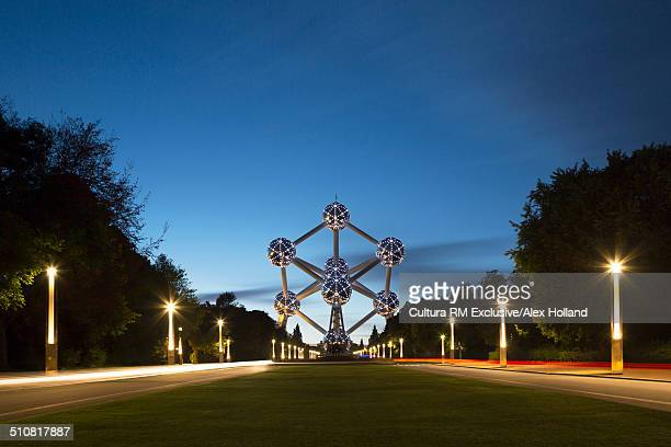 View of Atomium at night, Brussels, Belgium