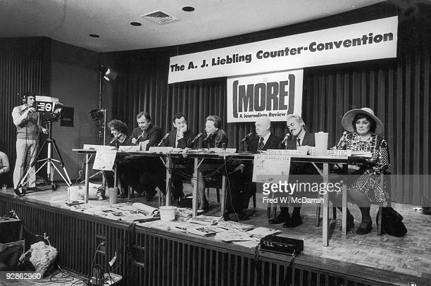 View of attendees at a panel discusison entitled 'How They Cover Me' at the AJ Liebling CounterConvention New York New York April 23 1972 Pictured...
