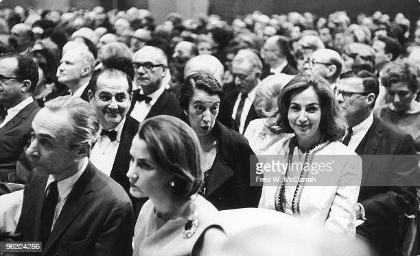 View of attendees at a Sotheby ParkeBernet art auction New York New York April 14 1965 Among the audience are American art dealer Leo Castelli...