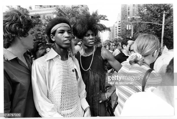 View of attendees in Washington Square Park at one of first mass rallies in support of gay rights New York New York July 27 1969 The event marked the...