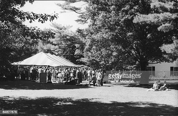 View of attendees under a tent to celebrate the tenth anniversary of Young Americans for Freedom a conservative student movement Sharon Connecticut...