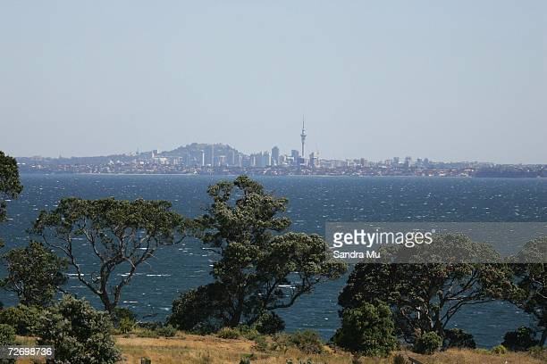 View of Auckland City from the 13th hole during round three of the New Zealand Open at Gulf Harbour Country Club on the Whangaparoa Peninsula...