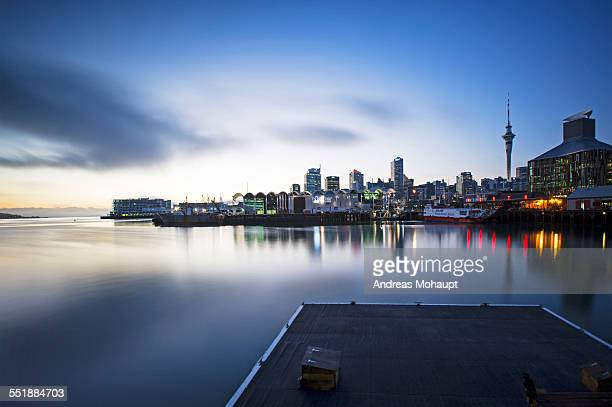View of Auckland skyline at sunrise