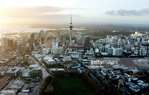 a view of auckland s cbd is seen on the morning truck drivers protested with a mass