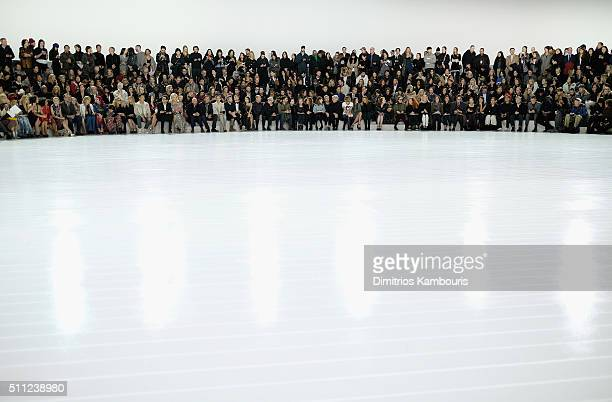 A view of audience during the runway for Marc Jacobs Fall 2016 during New York Fashion Week at Park Avenue Armory on February 18 2016 in New York City