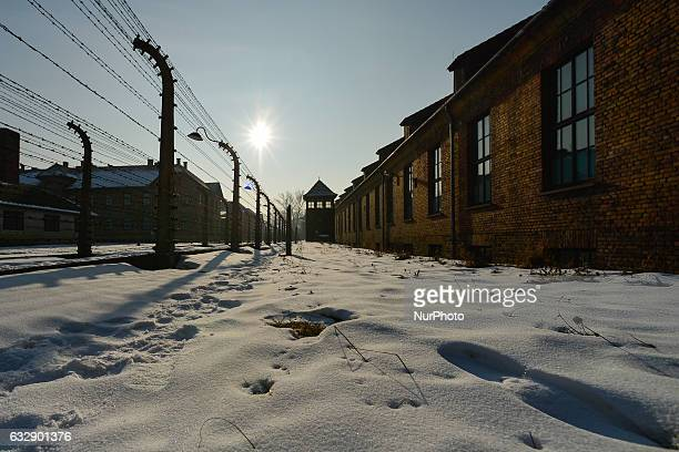 View of Auschwitz camp on the day of the 72nd anniversary of liberation German Nazi concentration and extermination camp Auschwitz-Birkenau. On...