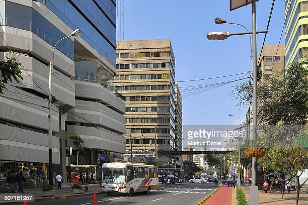 CONTENT] View of Avenida José Larco in the center of the Miraflores district of Lima Peru on a sunny day with clear blue sky Avenida José Larco is...