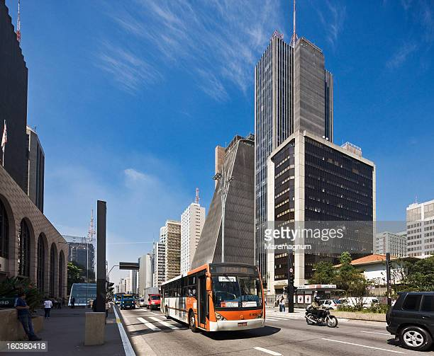 view of avenida (street) paulista - image stock pictures, royalty-free photos & images