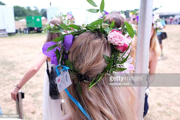 A view of B Floral Flower Crowns during OCRFA's 19th Annual Super Saturday NY Hosted by Kelly Ripa Donna Karan and Gabby Karan de Felice on July 30...