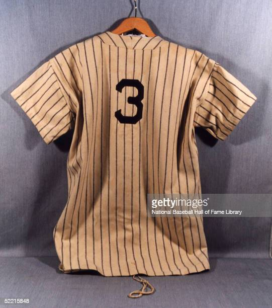 A view of Babe Ruth jersey from the New York Yankees Babe Ruth played for the New York Yankees from 19201934