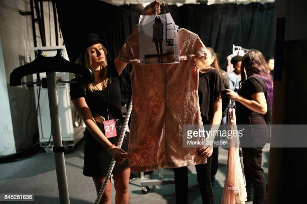 View of backstage at Dan Liu fashion show during New York Fashion Week The Shows at Gallery 3 Skylight Clarkson Sq on September 10 2017 in New York...