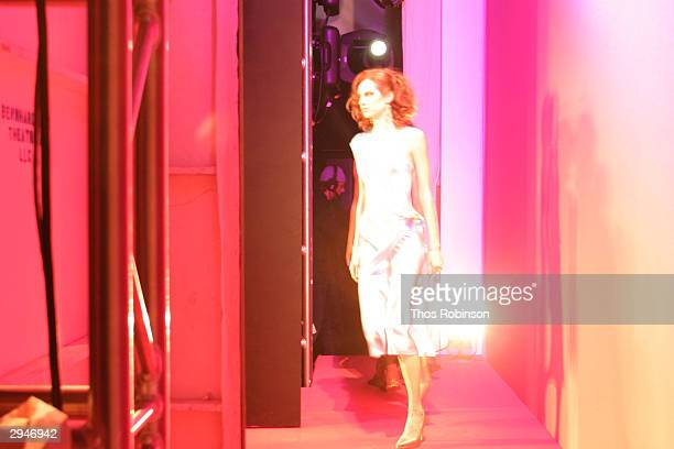 View of backstage during Olympus Fashion Week at Bryant Park February 8 2004 in New York City