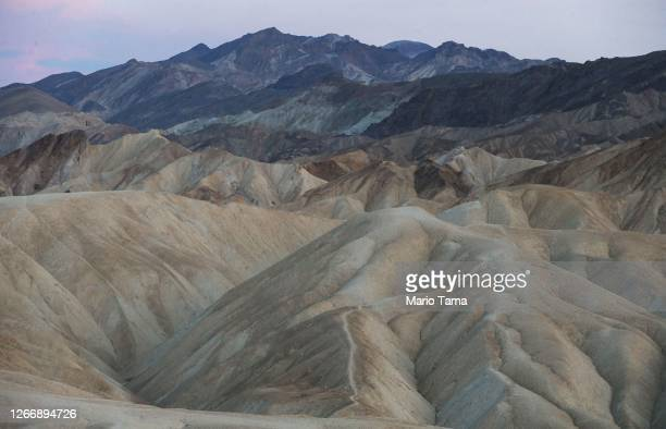 View of badlands terrain on August 17, 2020 in Death Valley National Park, California. The temperature reached 130 degrees at Death Valley National...