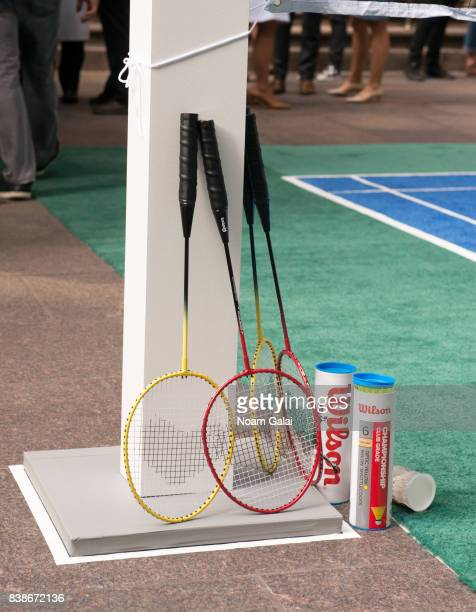 A view of badminton rackets and shuttlecocks at the 2017 Lotte New York Palace Invitational at Lotte New York Palace on August 24 2017 in New York...