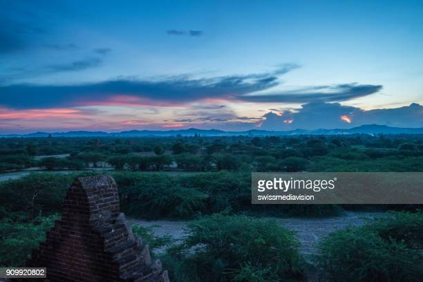 View of Bagan archeological zone at sunset, Myanmar