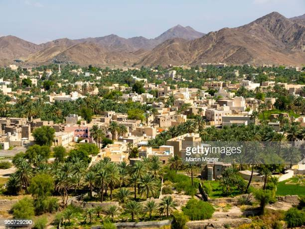 View of Bahla, oasis in Jebel Shams, Wadi Misfah, mountain village, Al Hajar al Gharbi Mountains, Ad Dakhiliyah, Oman