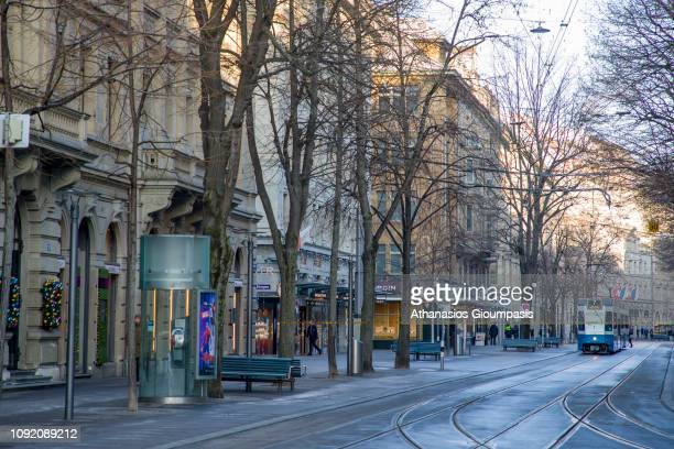 View of Bahnhofstrasse on January 03 2019 in Zurich Switzerland Bahnhofstrasse is a main downtown street and one of the world's most expensive and...