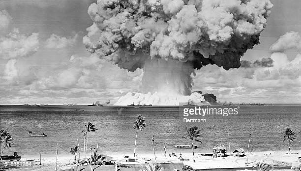 View of Baker atomic bomb explosion at Bikini Atoll on July 25 1946 the last of three American tests The blast sent up a column of water 5000 feet...