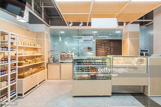 View of bakery cafe in supermarket
