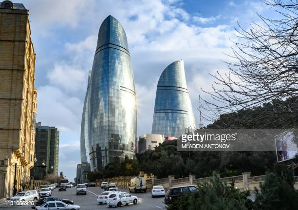 A view of Baku and the Flame Towers on March 18 2019