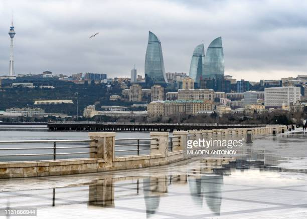 A view of Baku and the Flame Towers on March 20 2019