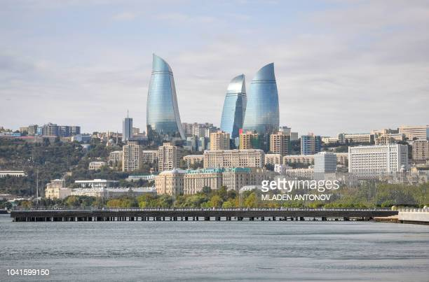 A view of Baku with the Flame Towers on September 27 2018