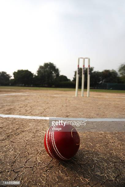 view of ball and wickets on a pitch - ウィケット ストックフォトと画像