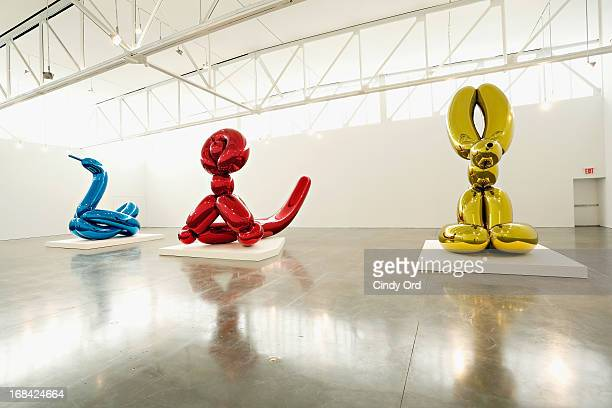 A view of Balloon Swan Balloon Monkey and Balloon Rabbit three new sculptures by artist Jeff Koons on display as Gagosian Gallery Presents JEFF KOONS...