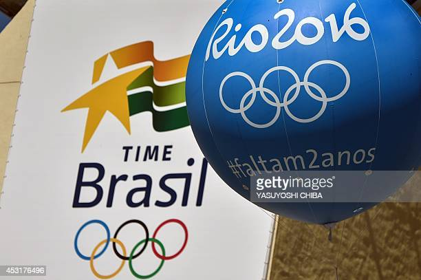 View of balloons depicting pictograms and logos of the 2016 Olympic Games on the eve of the day that marks two years for the start at the...