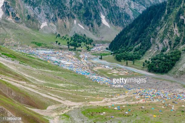 View of Baltal Base Camp at Sindhu River,Zozila Pass,Jammu and Kashmir, Ladakh Region, Tibet,India,