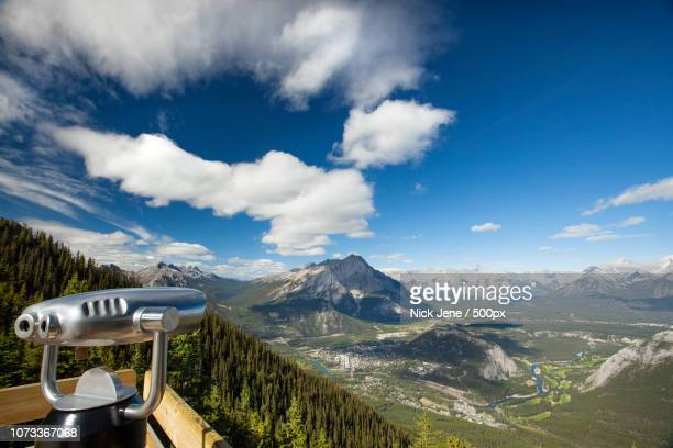 view of banff, canada and the rockies from sulphur mountain - sulphur mountain stock pictures, royalty-free photos & images