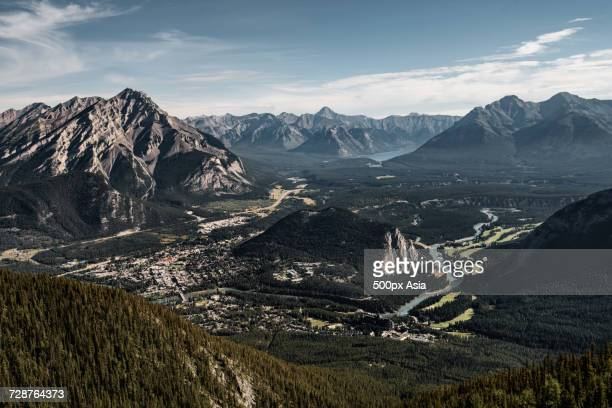 view of banff town from top of sulphur mountain, alberta, canada - sulphur mountain stock pictures, royalty-free photos & images