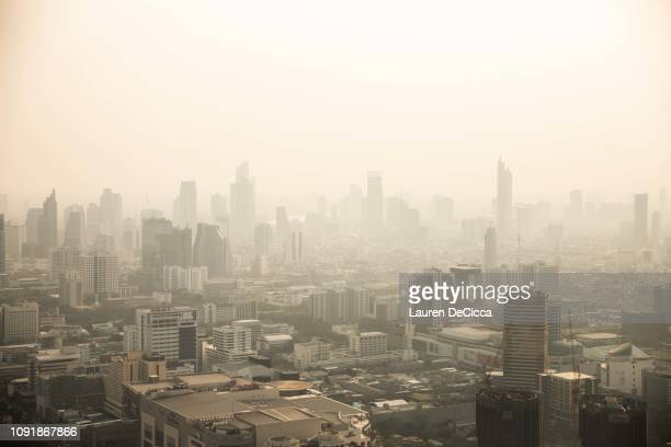 View of Bangkok's smog from the Baiyoke Tower II the city's tallest building on January 31 2019 in Bangkok Thailand The Thai Government has ordered...