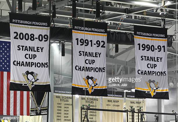 A view of banners as they are displayed at Consol Energy Center before the game between the Pittsburgh Penguins and the Toronto Maple Leafs on...
