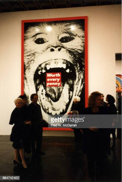 View of Barbara Kruger's 'Untitled ' on display during the Whitney Biennial New York New York April 9 1987