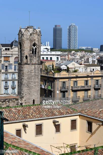 View of Barcelona from the gothic cathedral Santa Eulalia in Barcelona in the Gothic Quarter in Barcelona on April 04 Spain.