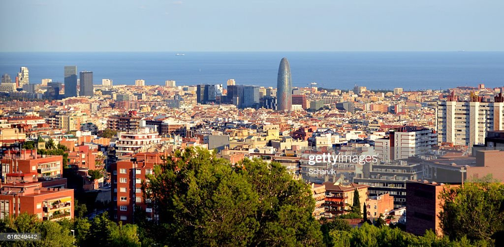 View of Barcelona on a sunny day. : Foto de stock
